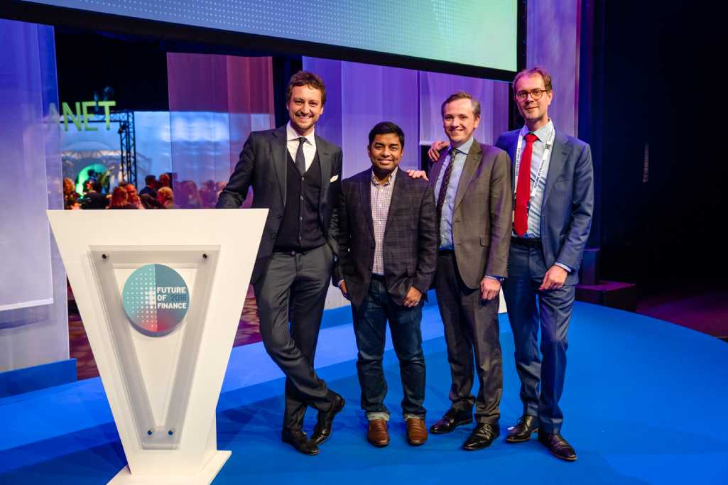 (L to R) Messrs. Matteo Marinelli, Ruchit Garg, Andrew Shaw and Idsert Boersma, Director of Partnerships for Impact at FMO at the Future of Finance 2018 conference in Utrecht, Netherlands.